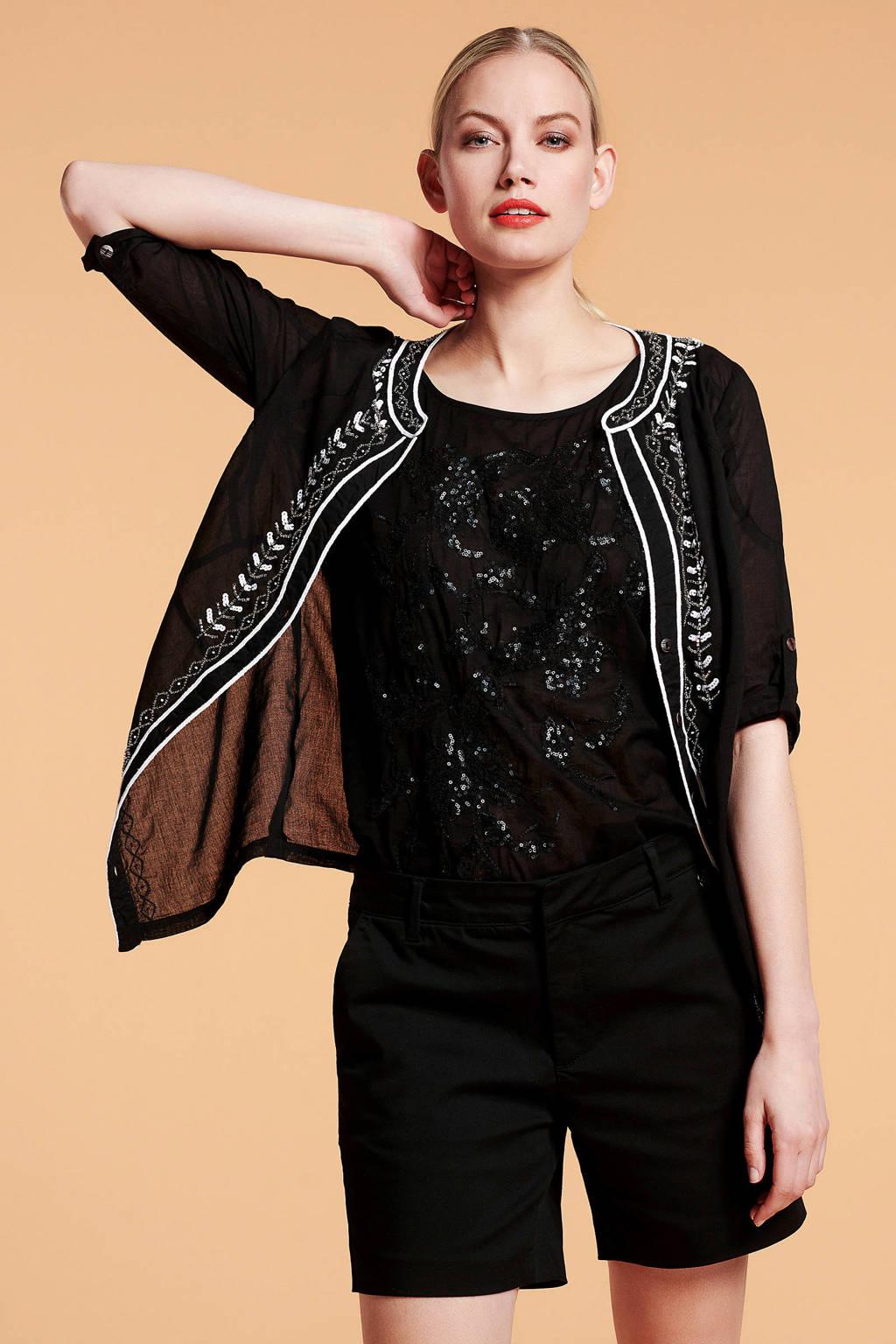 Didi blouse met pailletten zwart, Zwart