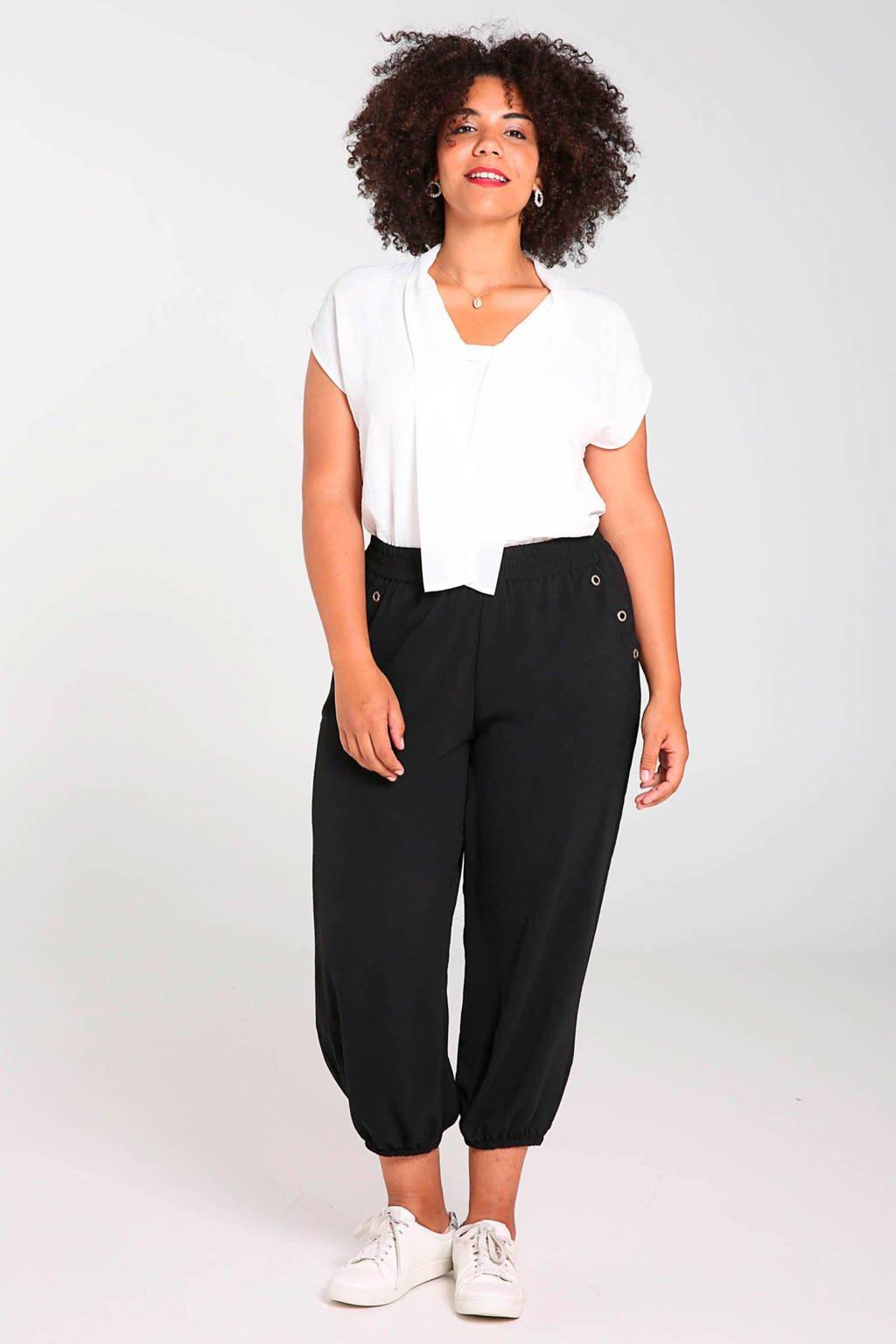 Paprika cropped high waist loose fit broek met studs zwart, Zwart