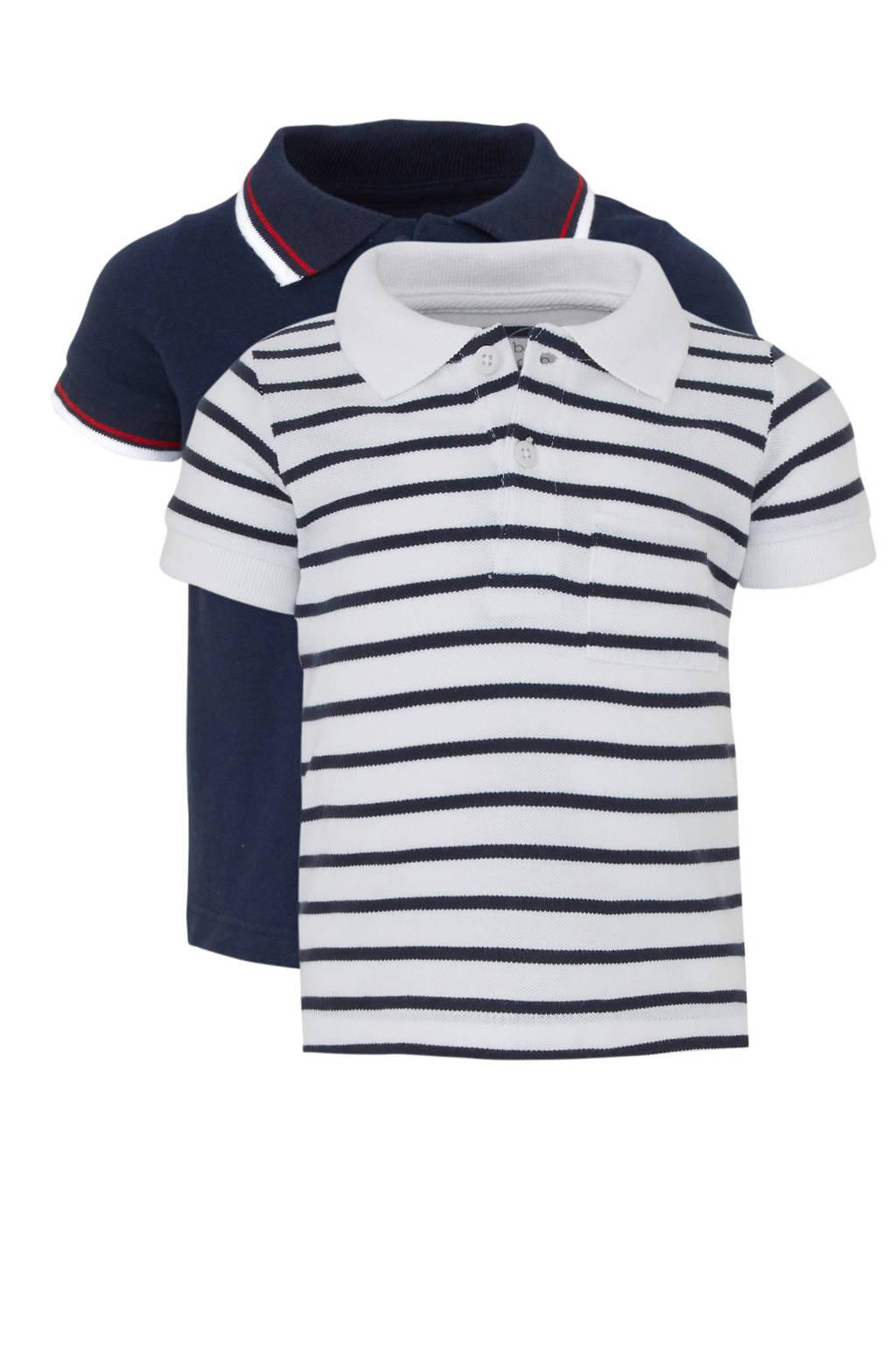 C&A Baby Club gestreepte polo wit/zwart/donkerblauw, Wit/zwart/donkerblauw