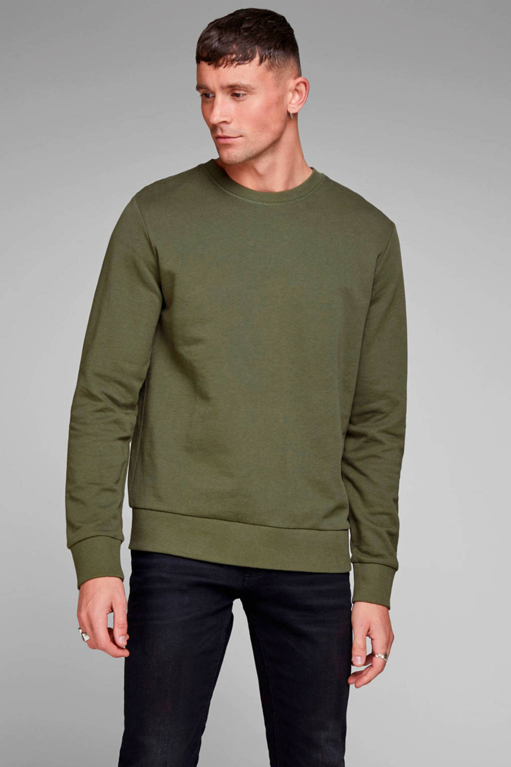 JACK & JONES ESSENTIALS sweater olijfgroen, Olijfgroen