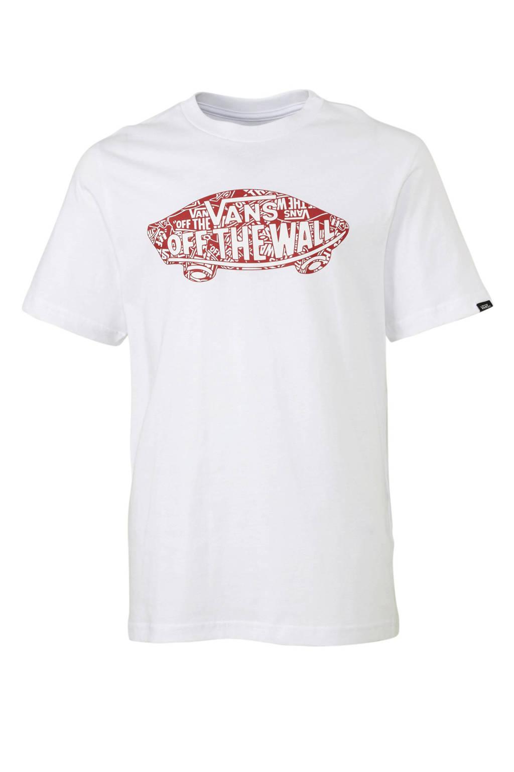 VANS T-shirt met logo wit/rood, Wit/rood