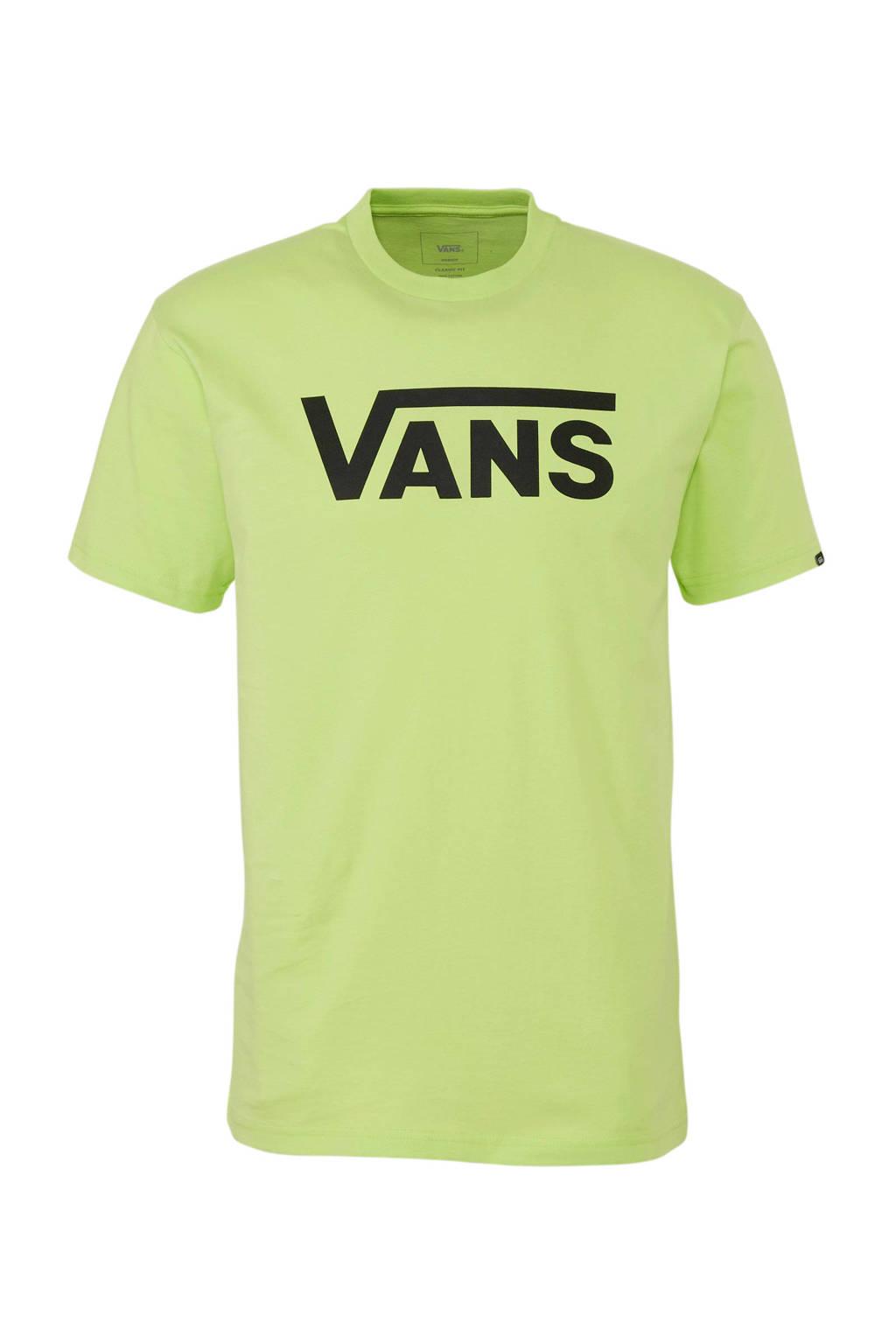 VANS   T-shirt met logo neon groen, neon groen/zwart