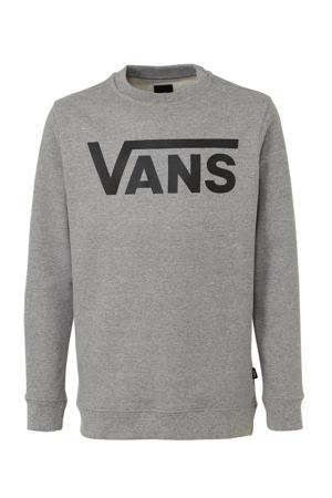 sweater Classic Crew met logo grijs melange/zwart