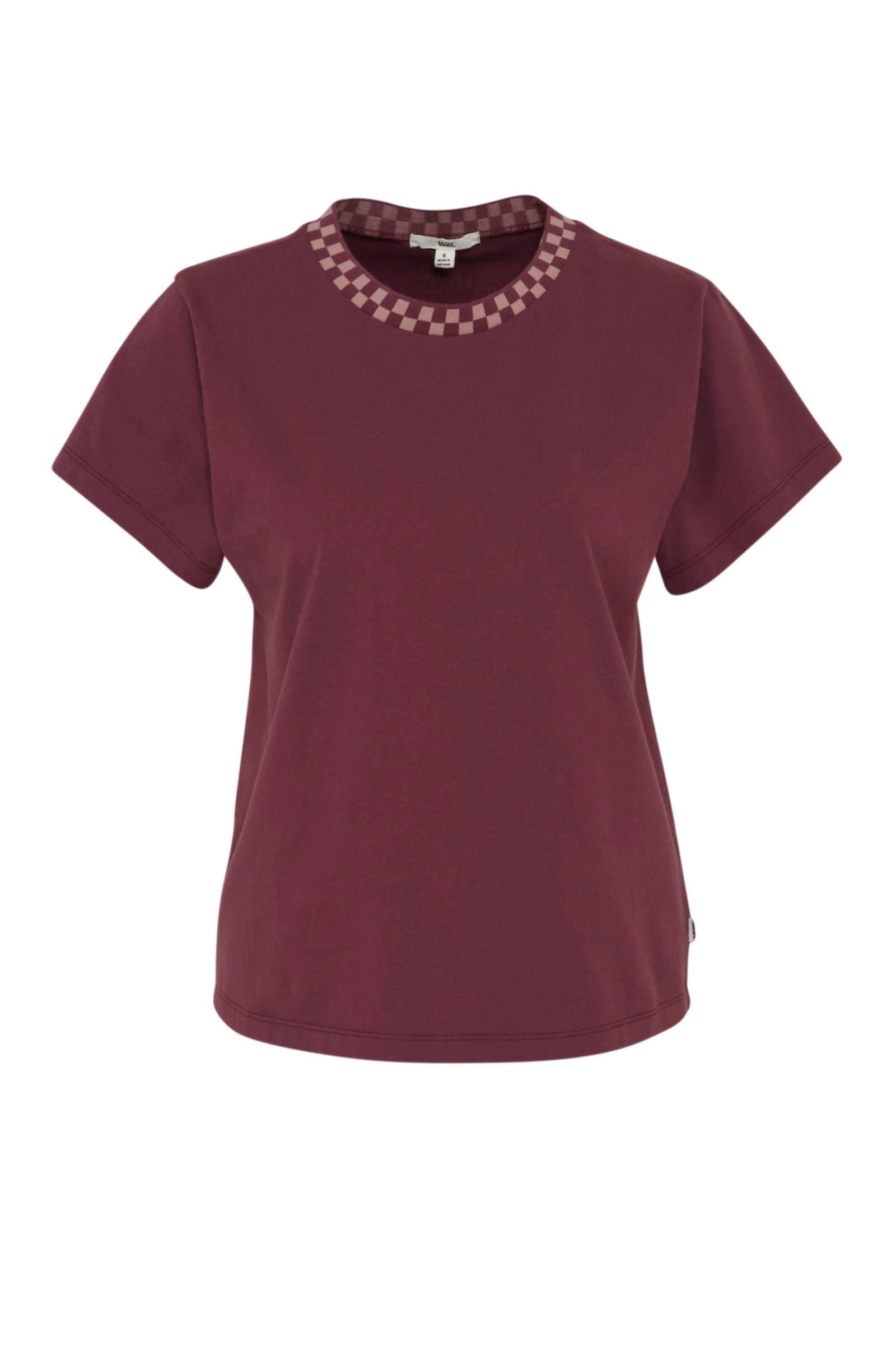 T shirt oprolbare korte mouw aubergine