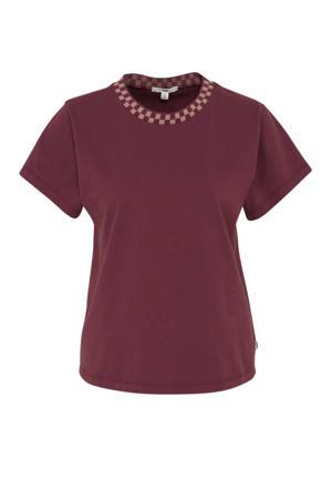 T-shirt oprolbare korte mouw aubergine