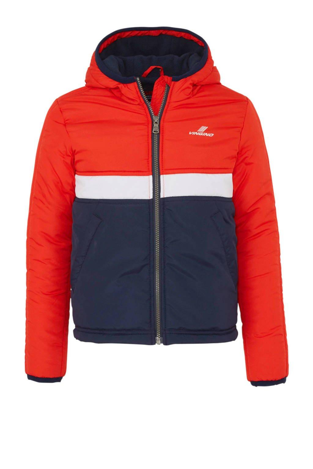 Vingino winterjas Tarlin rood/blauw/wit, Rood/donkerblauw/wit