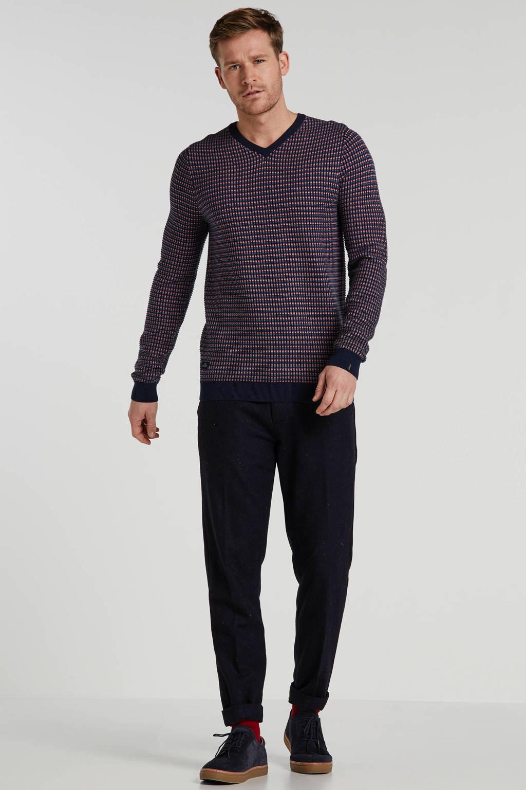 Scotch & Soda slim fit pantalon met all over print marine/blauw/rood, Marine/blauw/rood