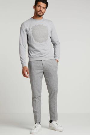 regular fit chino Stuart met wol en all over print grijs