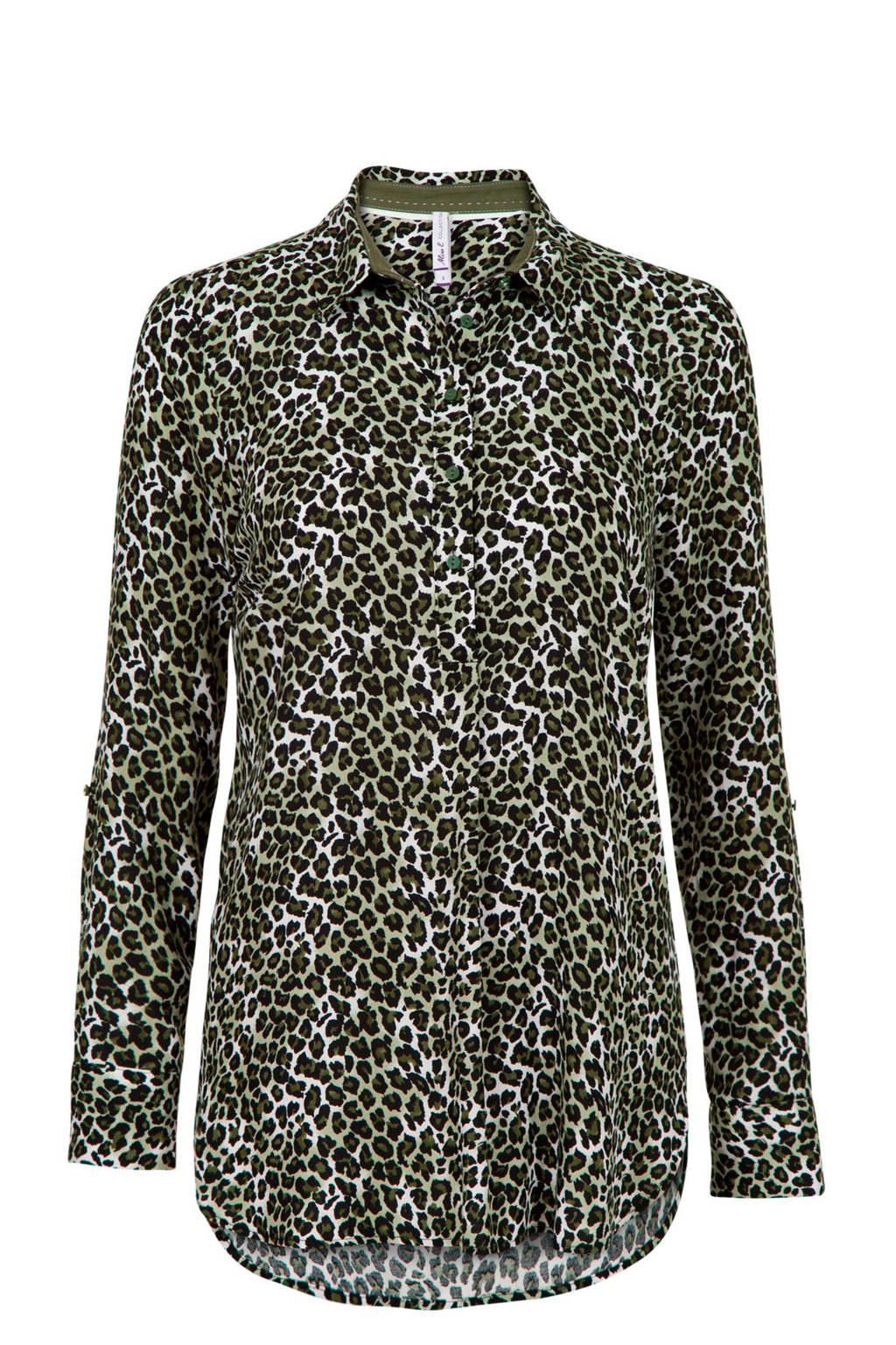 Miss Etam Regulier blouse met dierenprint donkergroen/zwart/wit