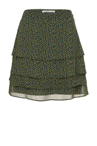 gebloemde rok met lagen zwart/geel
