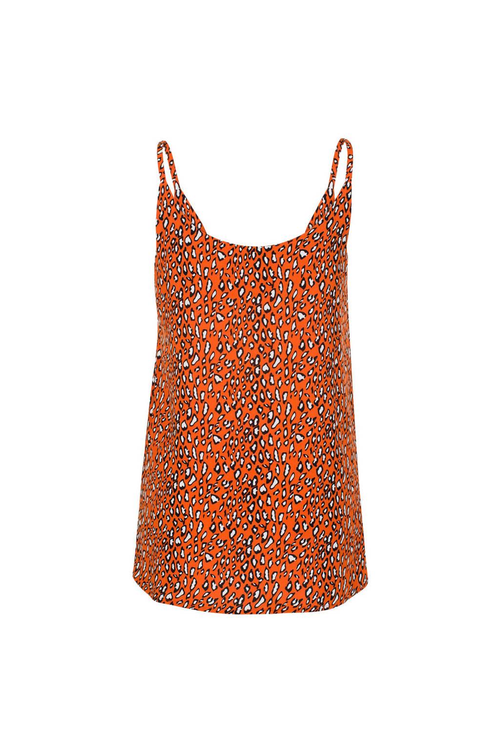 Miss Etam Regulier spaghettitop met panterprint oranje, Oranje