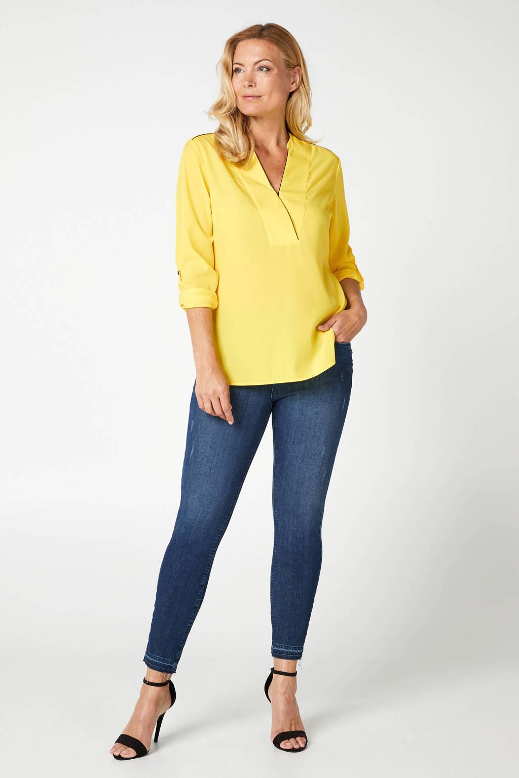 PROMISS top met contrastbies en overslag detail geel, Geel
