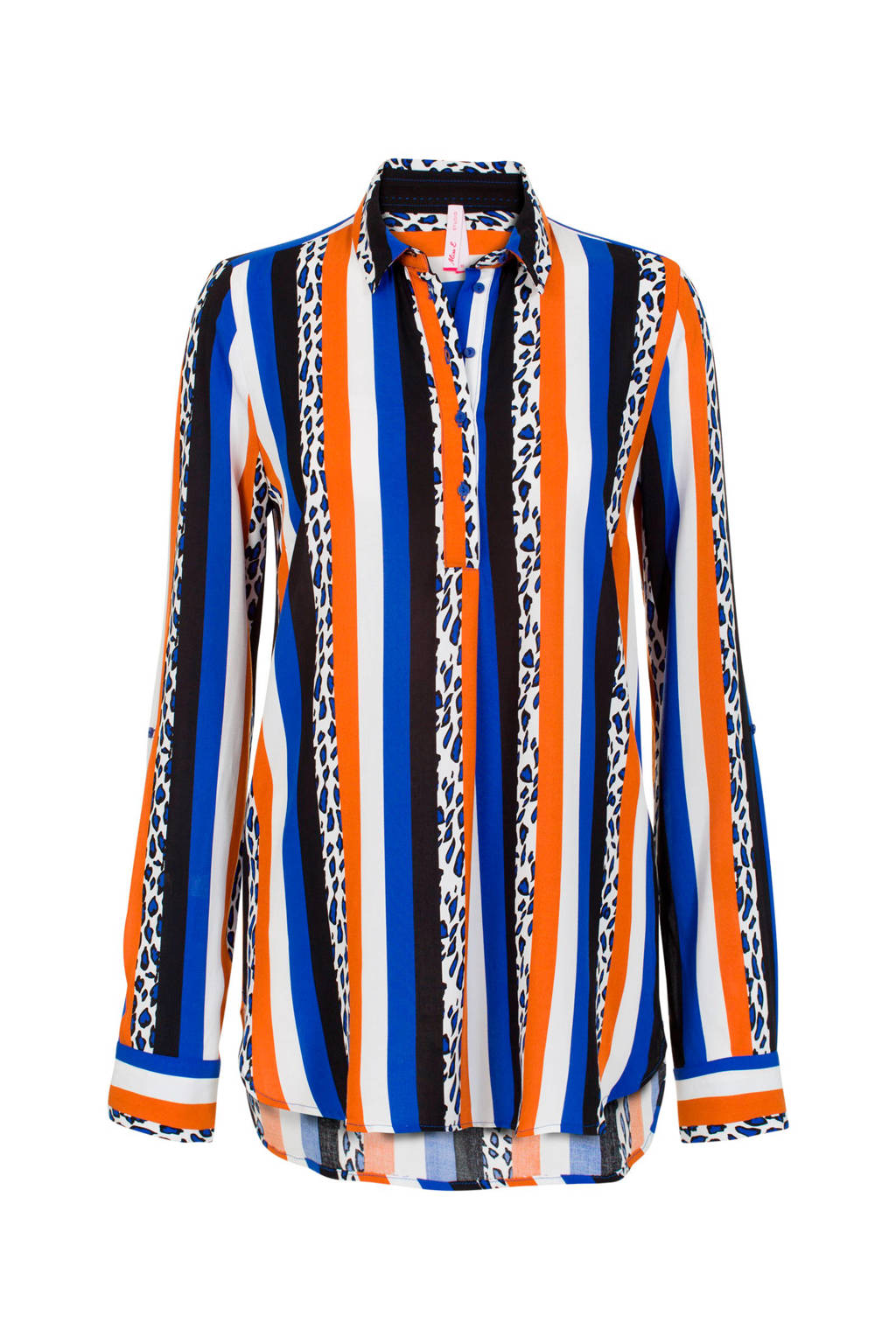 Miss Etam Lang gestreepte blouse blauw/oranje/wit, Blauw/oranje/wit