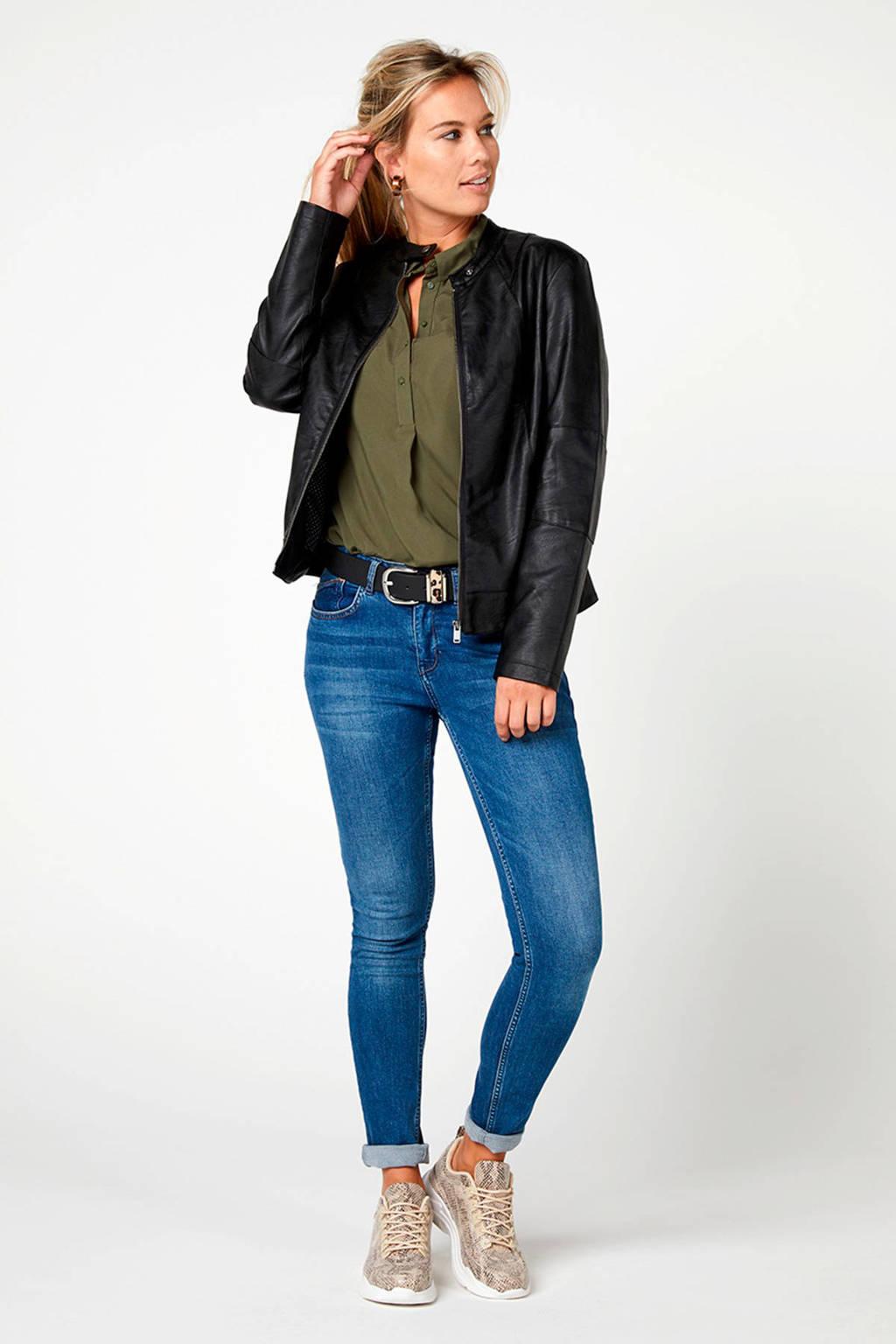 Miss Etam Regulier legergroene blouse, Kaki