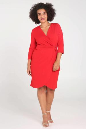 jersey jurk met ceintuur rood