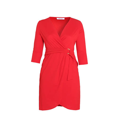 Paprika jersey jurk met ceintuur rood