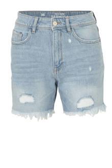 Clockhouse high waist regular fit jeans short met slijtage