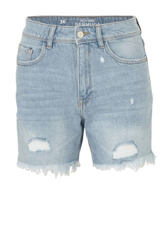 Clockhouse high waist regular fit jeans short met slijtage