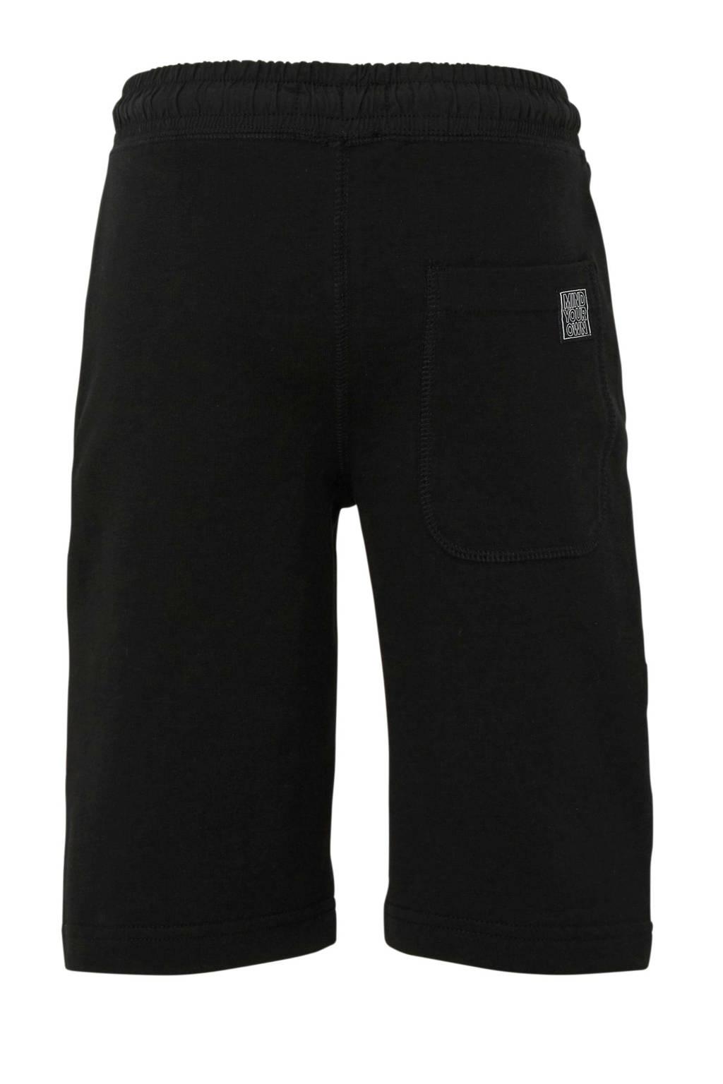 C&A Here & There straight fit sweatshort met zijstreep zwart/wit, Zwart/wit