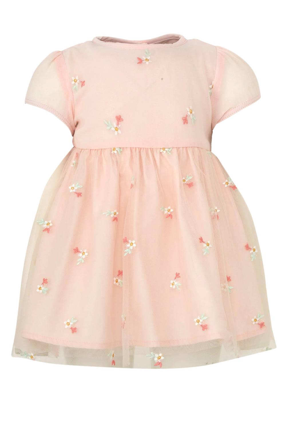 C&A Baby Club jurk met bloemendessin lichtroze, Lichtroze/wit