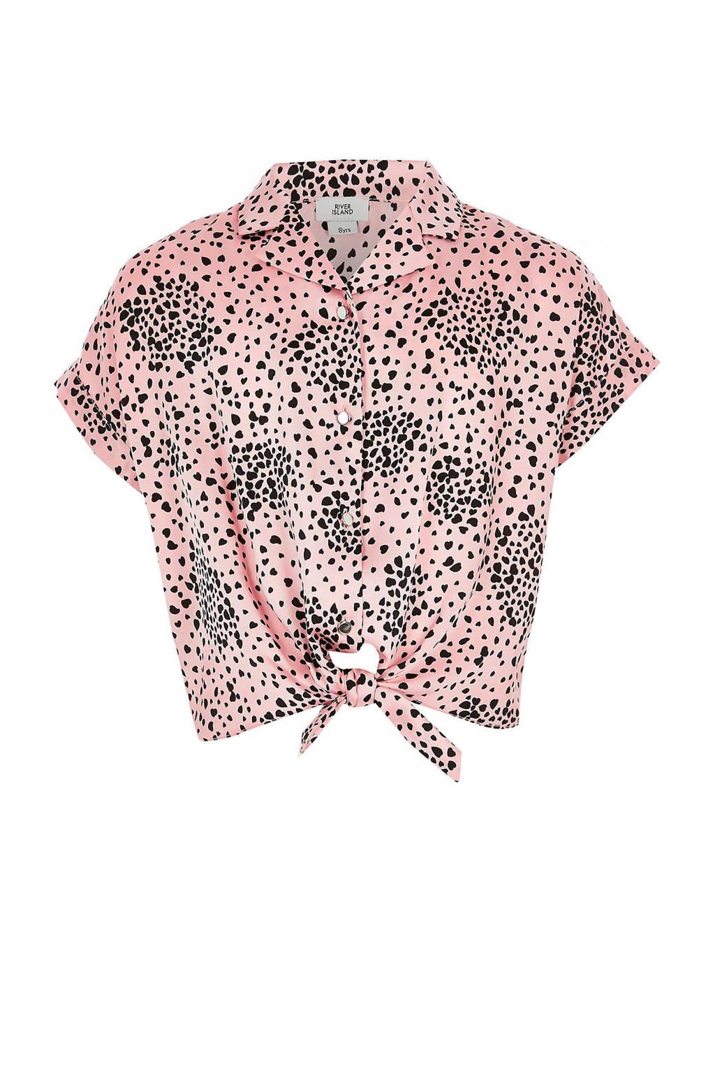 River Island blouse met panterprint roze, Roze