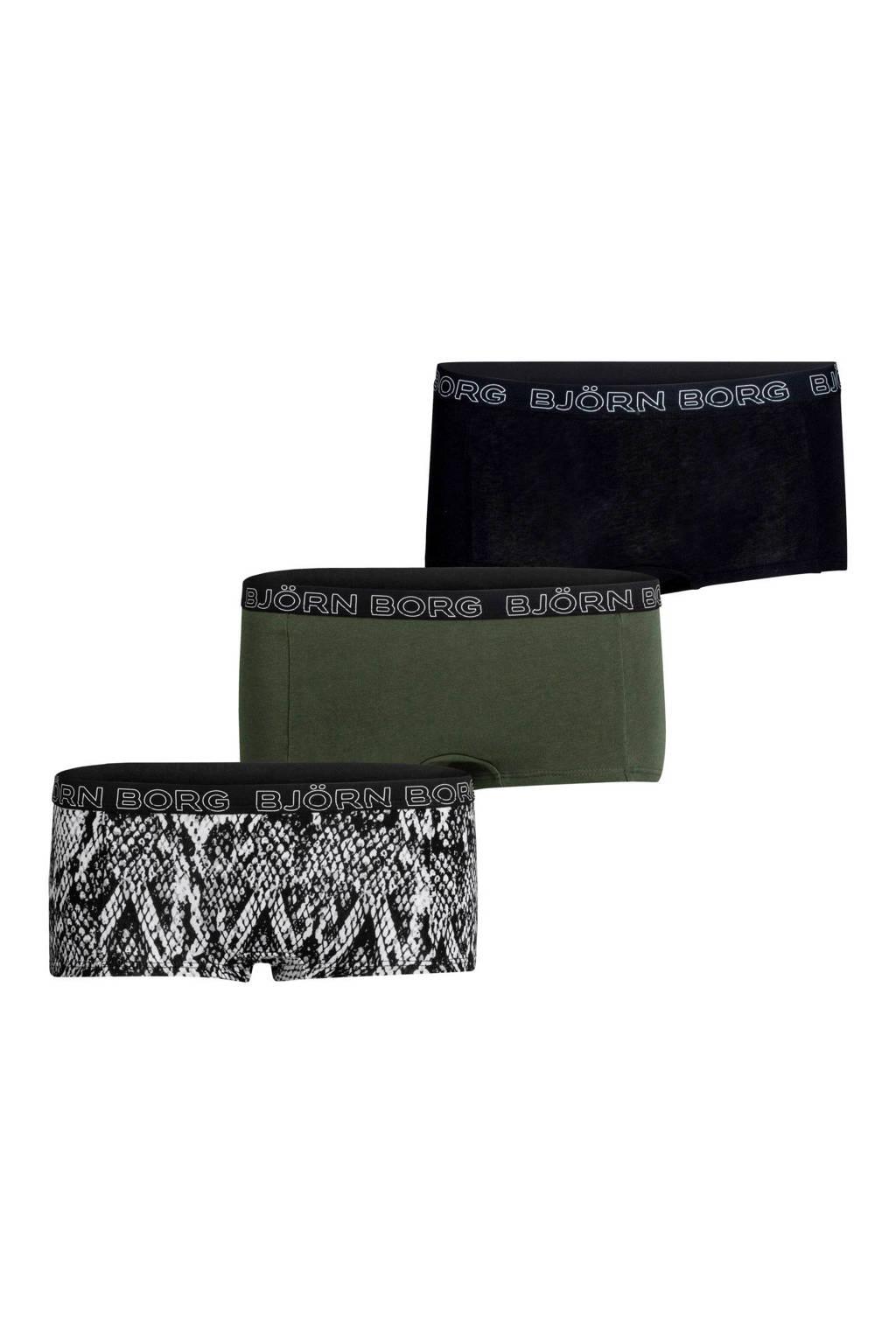 Björn Borg short (set van 3), Groen/zwart/wit