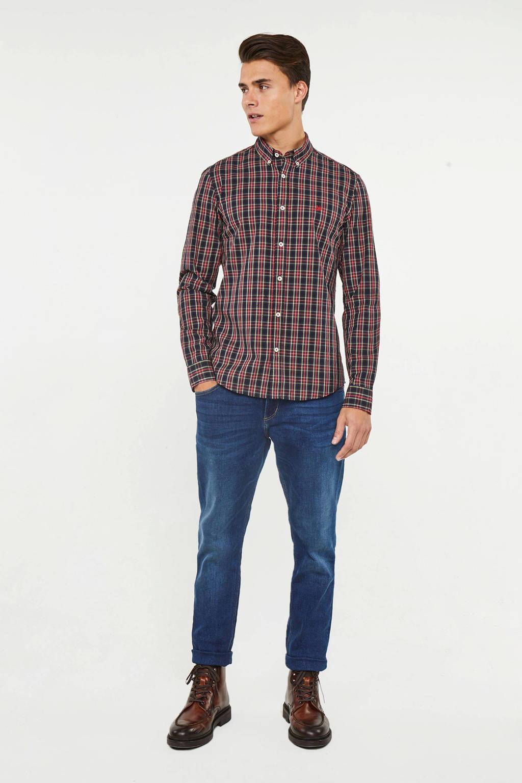 WE Fashion slim fit overhemd met all over print marine/rood/wit, Marine/rood/wit
