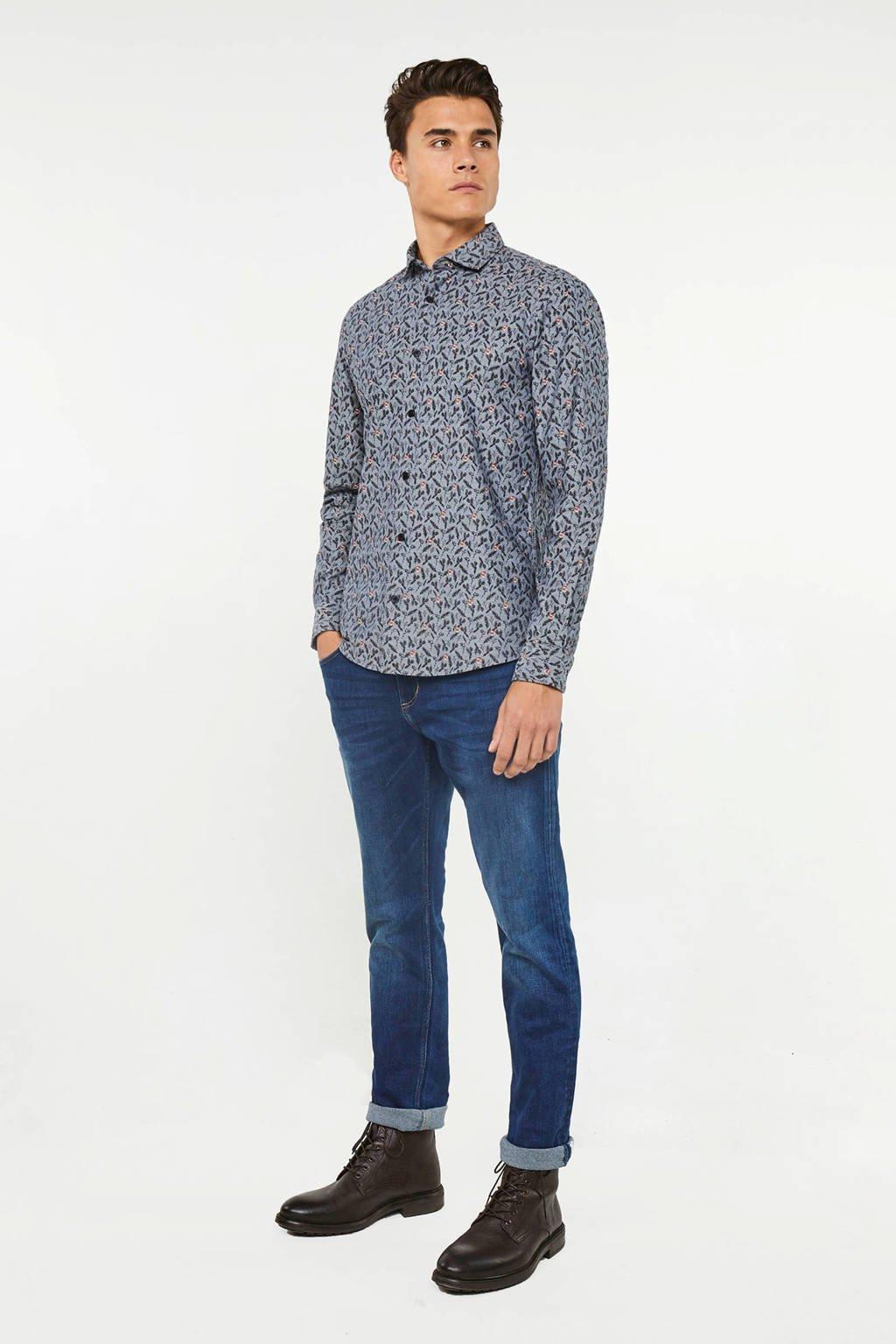 WE Fashion slim fit overhemd met all over print grijsblauw, Grijsblauw