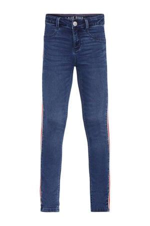 Blue Ridge skinny jeans Yfke met zijstreep dark denim/rood/wit