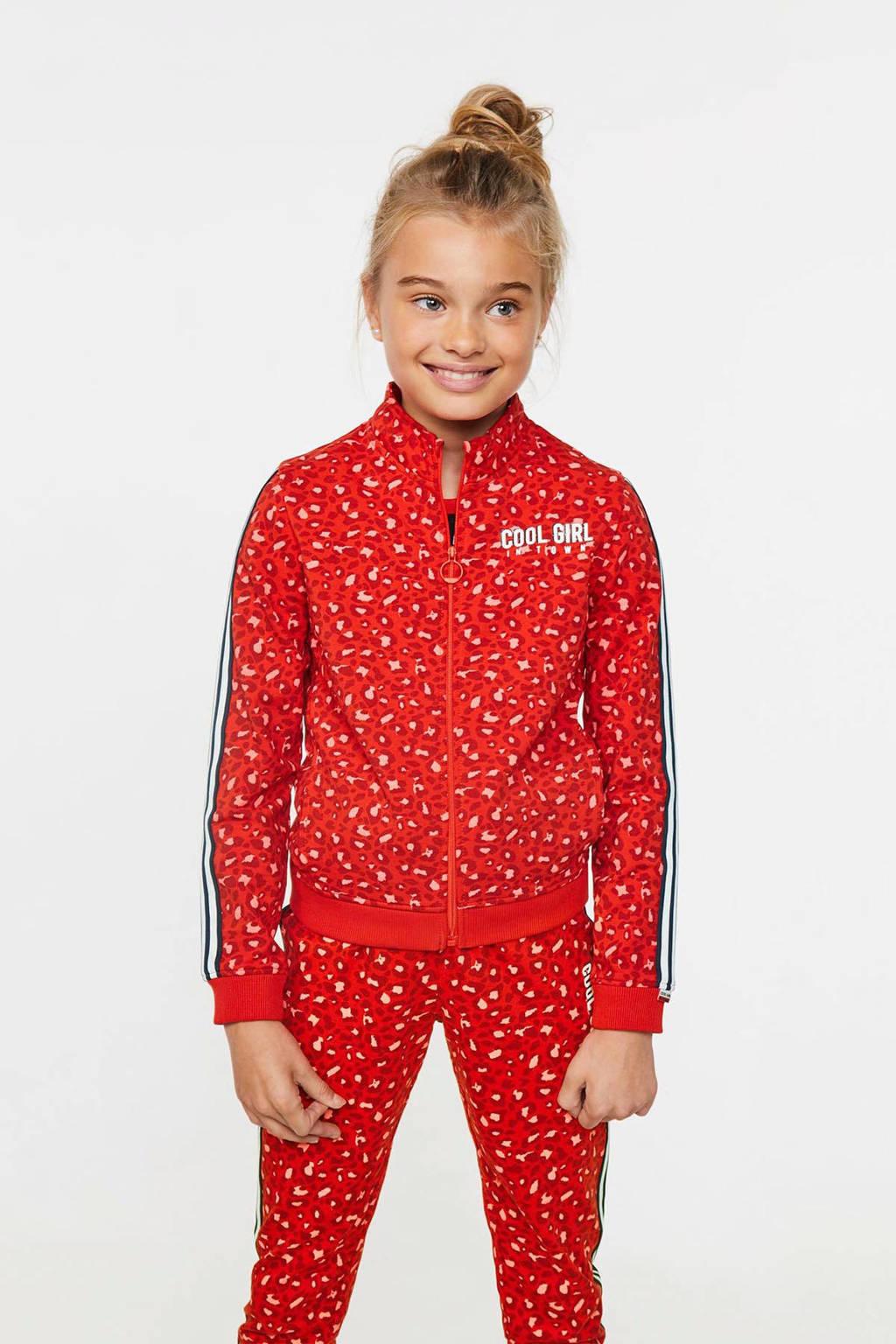 WE Fashion vest met panterprint en contrastbies rood, Rood