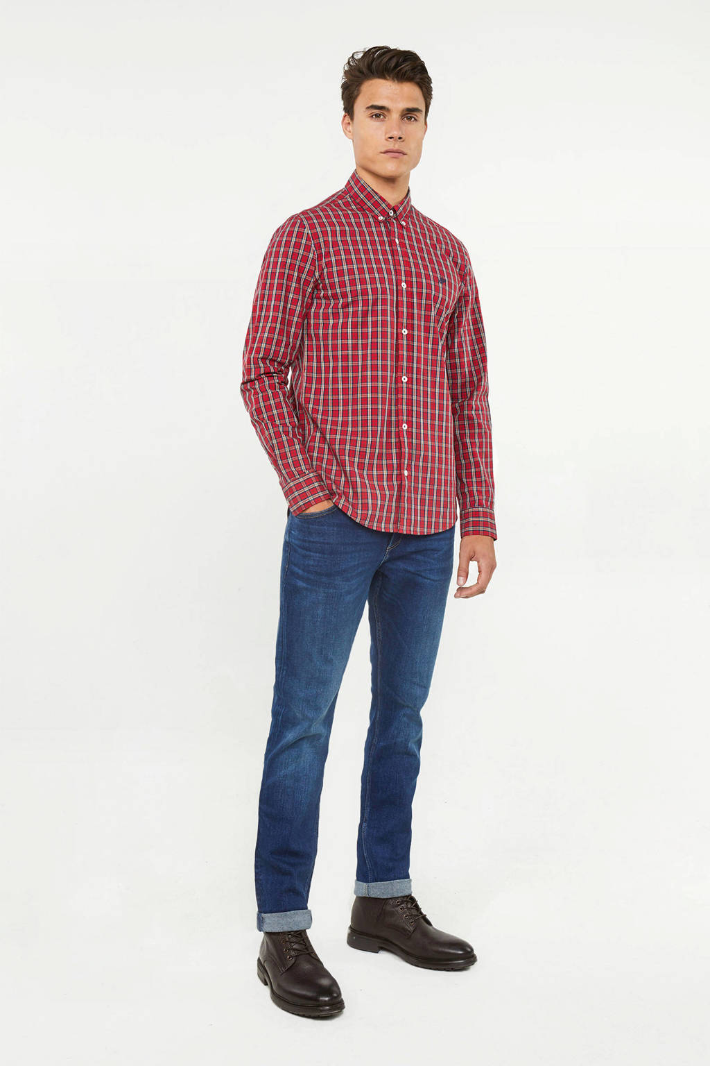WE Fashion geruit slim fit overhemd rood, Rood