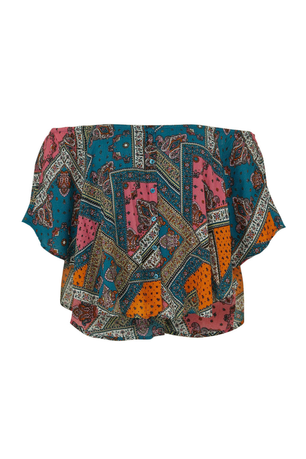 C&A XL Clockhouse off shoulder top met paisleyprint blauw multi, Blauw multi