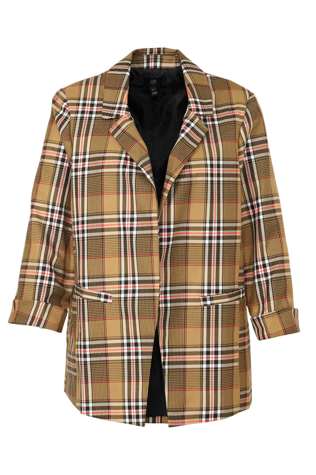 River Island Plus geruite blazer beige/bruin/roze, Beige/bruin/roze