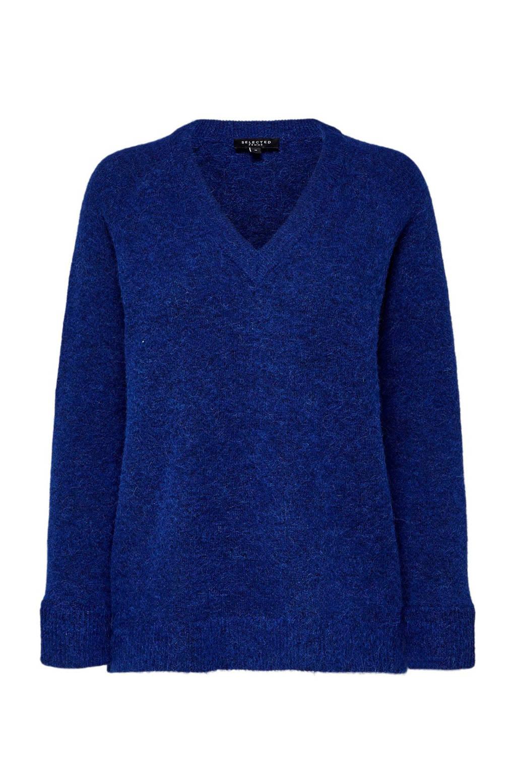 SELECTED FEMME trui met wol blauw, Paars