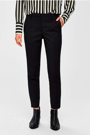regular fit cropped pantalon met biologisch katoen zwart