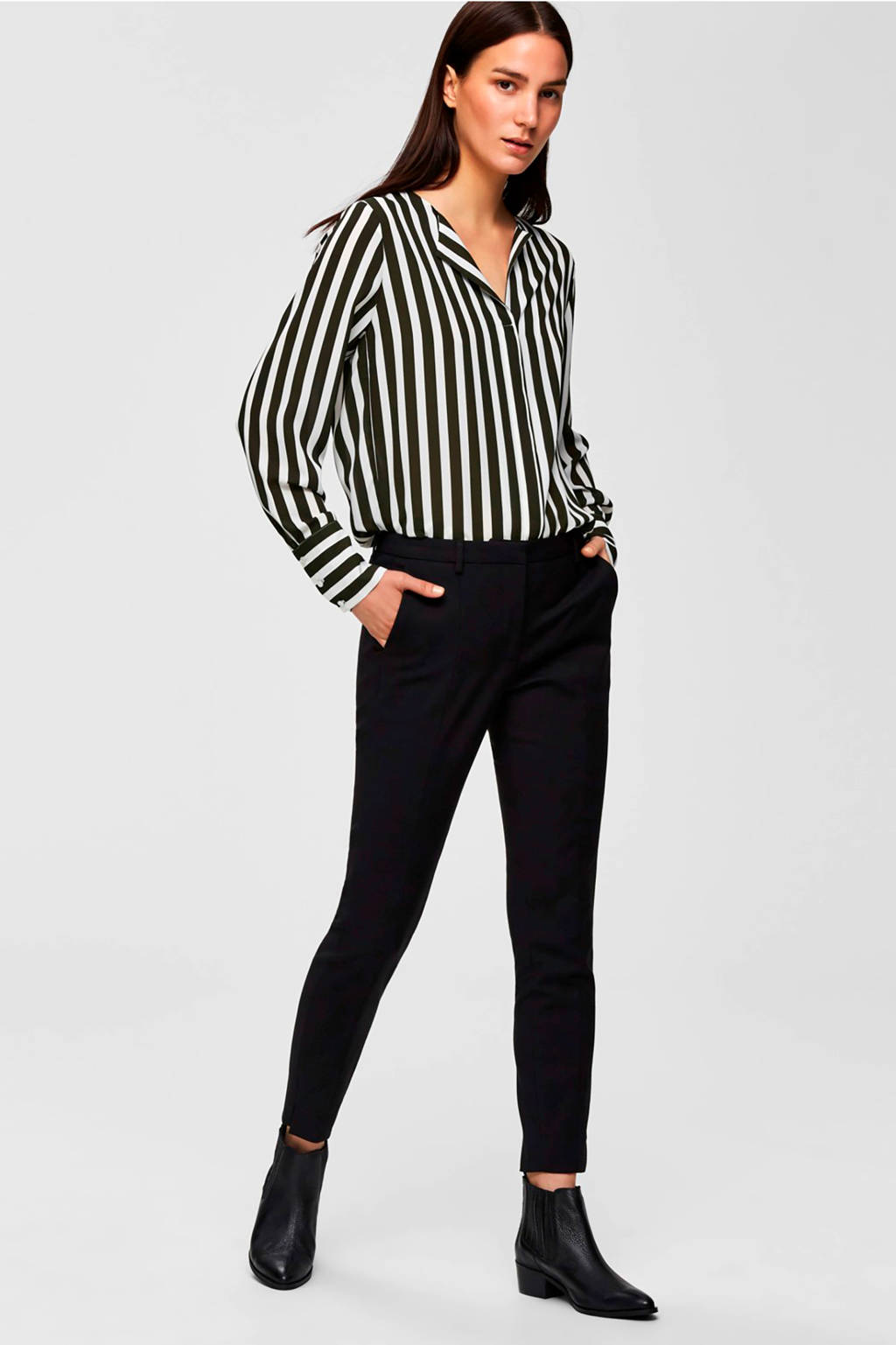 SELECTED FEMME regular fit cropped pantalon met biologisch katoen zwart, Zwart