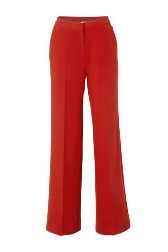 high waist straight fit pantalon rood