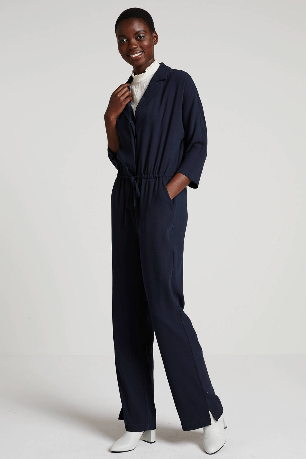 Another-Label jumpsuit Versailles donkerblauw, Donkerblauw