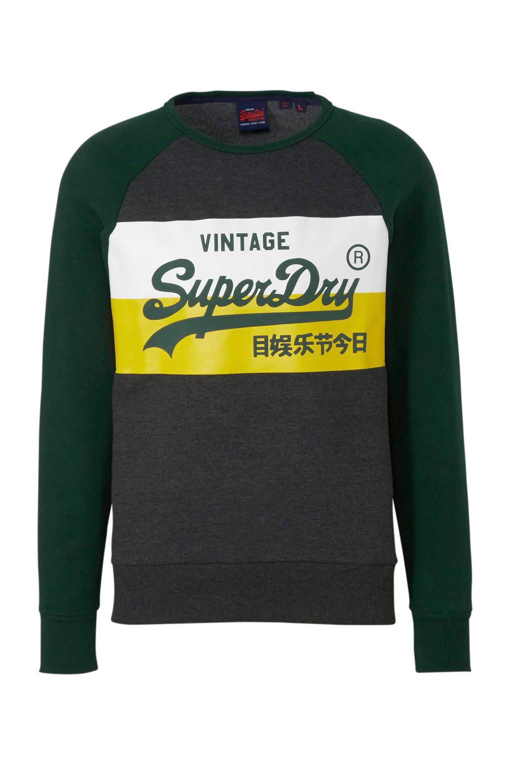 Superdry sweater met printopdruk donkergrijs, Donkergrijs