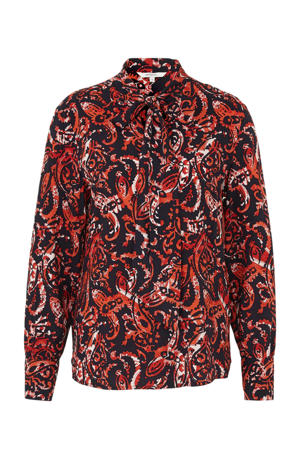 top met all over print rood/zwart
