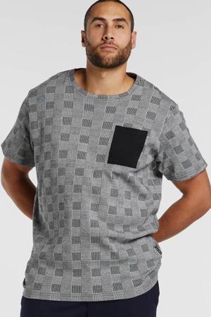 geruit T-shirt zwart/ecru