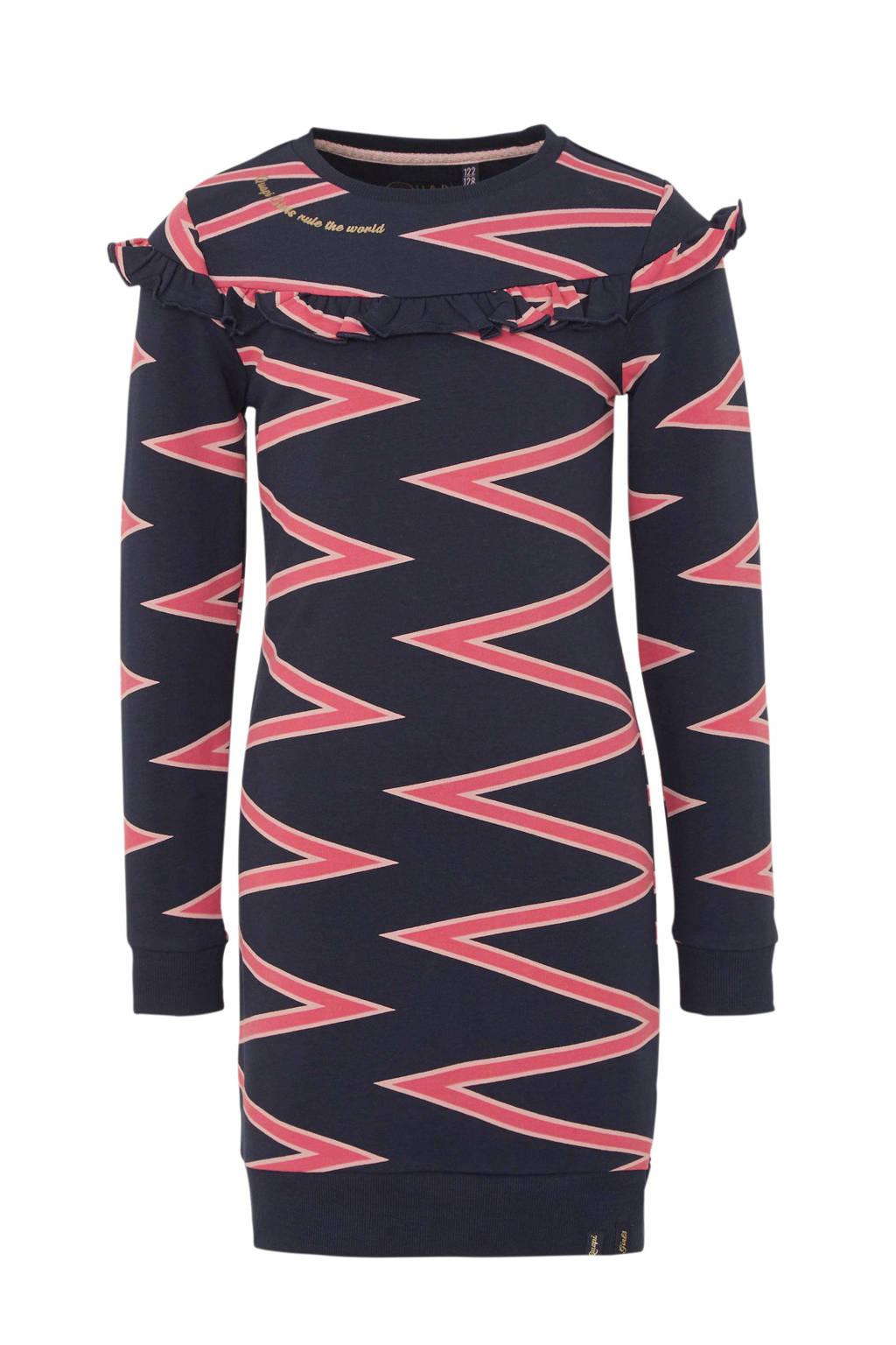 Quapi sweatjurk Wende met zigzag dessin donkerblauw/roze, Donkerblauw/roze