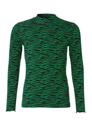 ribgebreide longsleeve met zebraprint groen/zwart