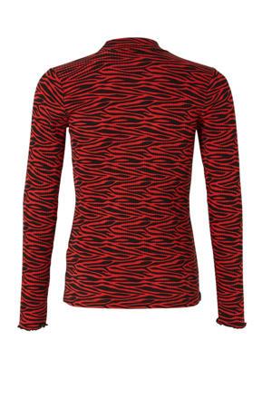 ribgebreide longsleeve met zebraprint rood/zwart
