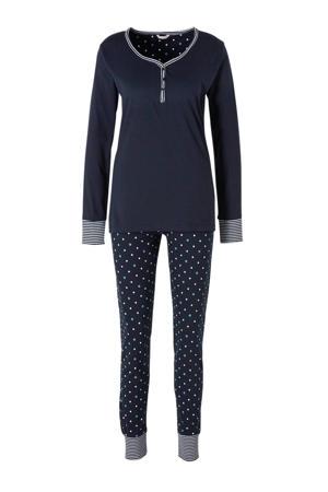 Women Bodywear katoenen pyjama met stippen marine