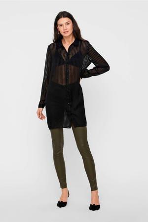 gestreepte semi-transparante blouse zwart