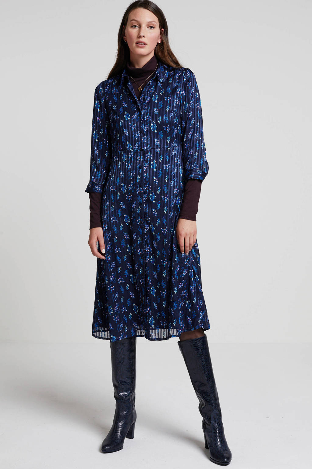 Y.A.S semi-transparante blousejurk met all over print donkerblauw, Donkerblauw