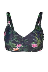 Zizzi corrigerend bikinitop +size met all over print zwart, Zwart/groen/roze