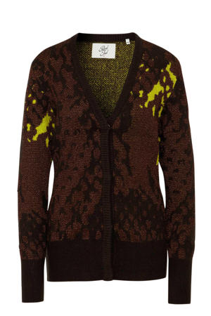 vest met all over print bruin/lime