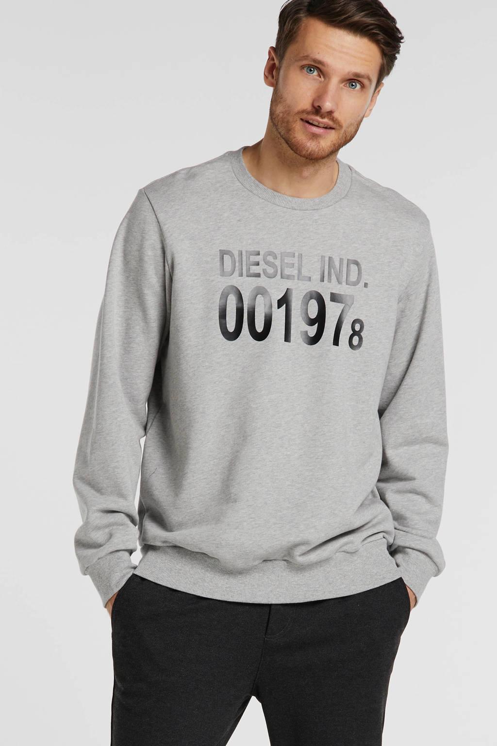Diesel sweater met tekst grijs, Grijs